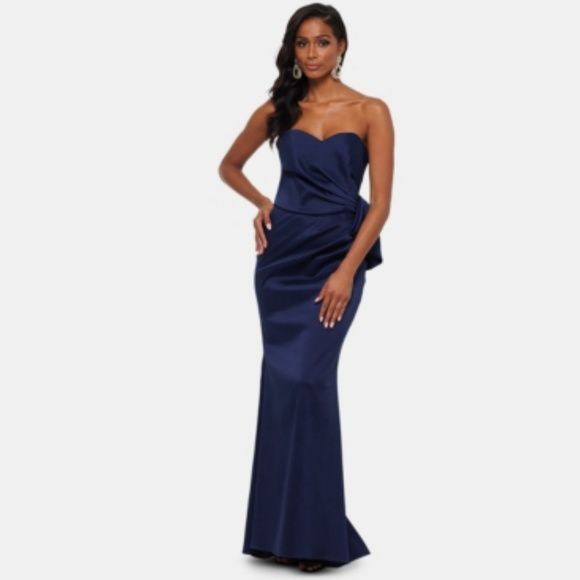 Xscape Dresses & Skirts - Xscape Strapless Bow-Front Evening Gown Navy Dress